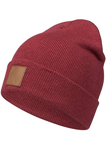 Occulto Leatherpatch Winter Mütze Beanie in verschiedenen Farben (Bordeaux Rot)