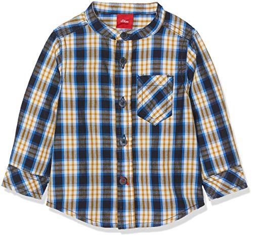 s.Oliver Baby - Jungen Hemd 65.809.21.6957, Blau (Dark Blue Check AOP 58n3), 80