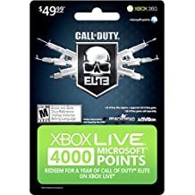 Microsoft Xbox 360 Live 4000 Points, Call of Duty - accesorios de juegos de pc (Call of Duty