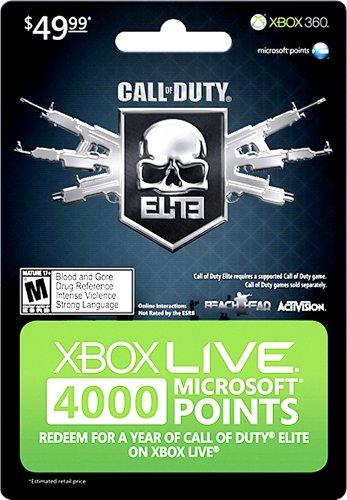 Microsoft Xbox 360 Live 4000 Points, Call of Duty - accesorios de juegos de pc (Call of Duty