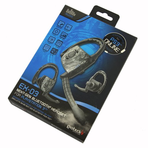 Gioteck EX-03 Wireless Bluetooth Headset fuer PS3 WIN7 Vista Mac Flexible Ohrbuegel und Mikrofon