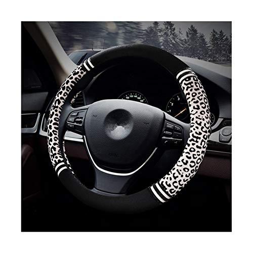 HONCENMAX Premio Felpa Morbido Veicolo Coprivolante Comodo Inverno Protezione per Volante dell'automobile Universale Diametro 38 cm (15') Stampa Leopardo