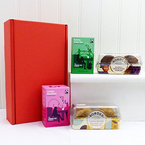 Classic London Tea and Biscuits Hamper in a Red Presentation Box - Gift Ideas for Mum, Mothers Day, Birthday, Corporate, Business gifts, Students, Grandma