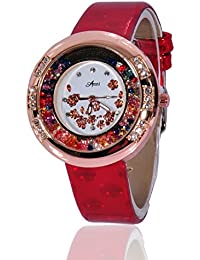 Fusine™ Amni Fashion Double Stone Studded 3D Leather Watch For Women (Round) Party Wear (Red)