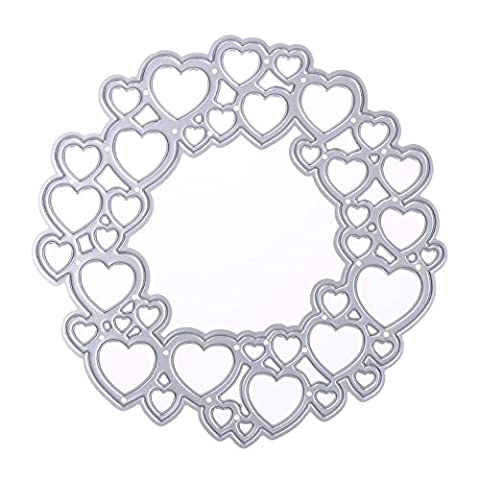 Demiawaking Love Heart Circle Cutting Dies Stencil for DIY Stamp