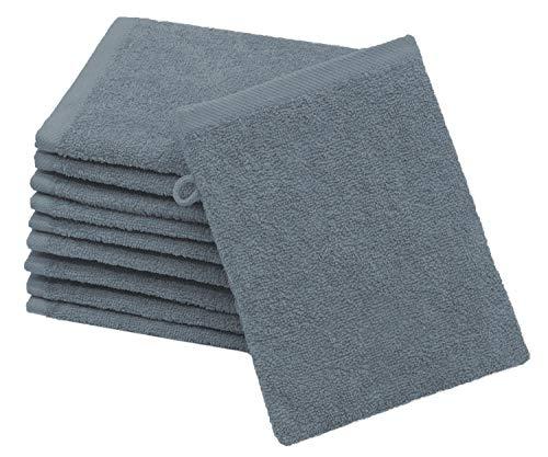 ZOLLNER 10er Set Waschlappen Baumwolle, 16x21 cm, grau (weitere verfügbar)