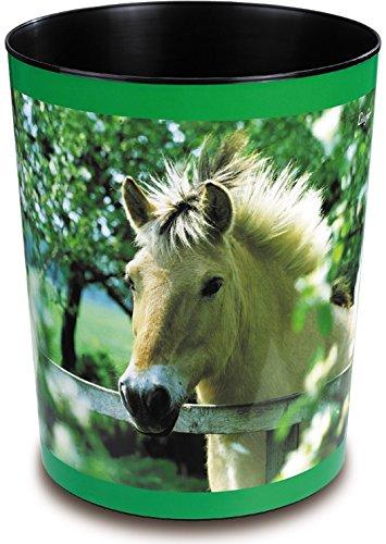 Läufer 26657 Papierkorb mit Motiv Pferd am Weidezaun, 13 Liter Mülleimer, perfekt für Das Kinderzimmer, rund, stabiler Kunststoff