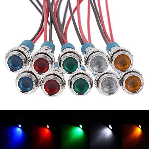 Wei/ß, 12mm LED Kontrollleuchte 12V in 3 Gr/össen 8,12 /& 16mm und in 5 Farben Rot,Gr/ün,Orange Wei/ß /& Blau zum ausw/ählen