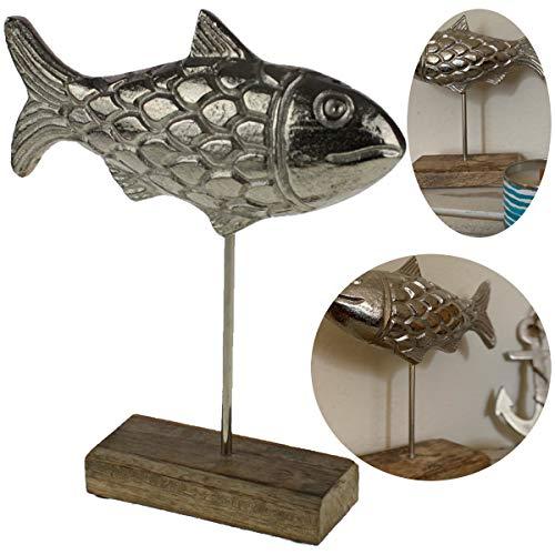 LS-Design Deko-Objekt Alu Fisch Statue Silber 28x10cm Skulptur Sockel Maritim Bad