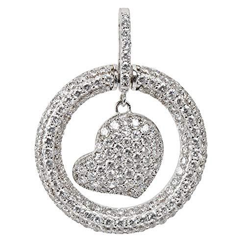 Schmuckboerse24 ciondolo da donna a forma di cuore, in argento sterling 925 con zirconi bianchi taglio brillante