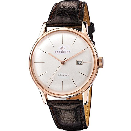 gents-mens-rose-gold-plated-accurist-watch-on-brown-leather-strap-with-ivory-coloured-dial-date-ms73
