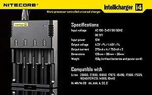 Nitecore i4 Intellicharge Ladegerät für (4x Akku, Li-Ion/Ni-Mh)