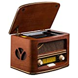 Roadstar HRA-1500MP - Radio con CD, MP3, WMA, diseño retro, madera