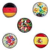 Morella® Damen Click-Button Set 5 Stück Druckknöpfe deutsch-spanische Freundschaft