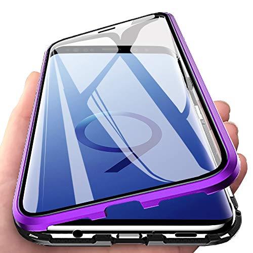 Eabhulie Galaxy S9 Plus Hülle, Vollbildabdeckung Gehärtetem Glas mit Magnetischer Adsorptionskasten Metall Rahmen 360 Grad Komplett Schutzhülle für Samsung Galaxy S9 Plus Lila Schwarz
