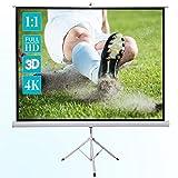 celexon Basic Mobile Beamer-Stativ-Leinwand in wenigen Minuten Auf-/Abgebaut - optimal für Heimkino, Büro, Präsentation oder Schule - 200x200cm - 1:1