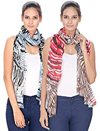 Anekaant Multicolored Printed Viscose Stole Pack Of 2 (70x180 cm)
