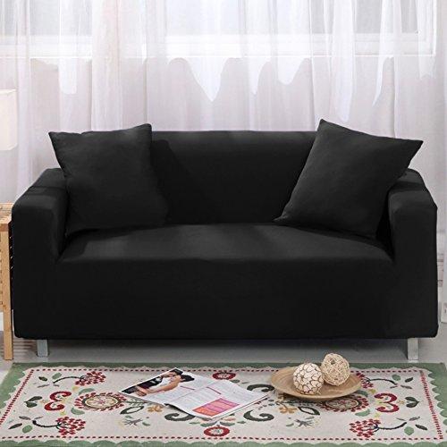 Bezug für 2-Sitzer-Sofa 7Farben erhältlich, vollständig aus Stretch, Schonbezug, Elastisch, aus weichem Stoff, für Couch, Sofa schwarz