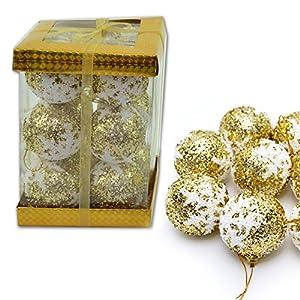 Gifts 4 All Occasions Limited SHATCHI-1066 - Juego de 12 bolas para árbol de Navidad (espuma), color dorado