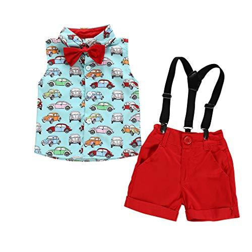 Anglewolf Kleinkind Baby Boy Bekleidung Kurzarm Gentleman Beach Print T-Shirt Tops + Shorts Outfits,Jungen Kinder Sommer Kleidung Set Mode Kurze Und Hosen Zweiteiler Bekleidungsset(rot,100)