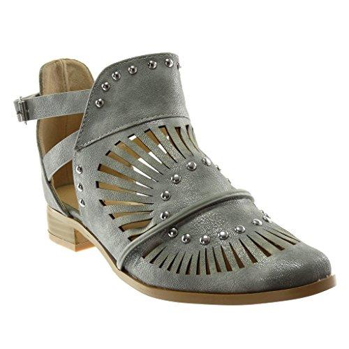 Angkorly - Damen Schuhe Stiefeletten - Offen - knöchelriemen - Nieten - besetzt - Perforiert - gekreuzte Riemen Blockabsatz 3 cm - Grau 151-91 T 37
