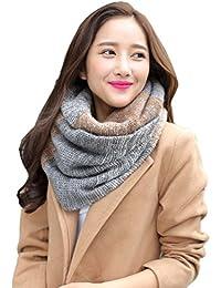 a18d2ed41204 heekpek Écharpe tricotée chaude d hiver de cou de femmes, foulard de cercle  pour