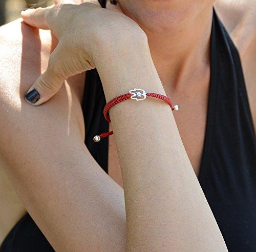 Imagen de rojo macramé pulsera con plata de ley mano de fátima encanto ajustable para las mujeres alternativa