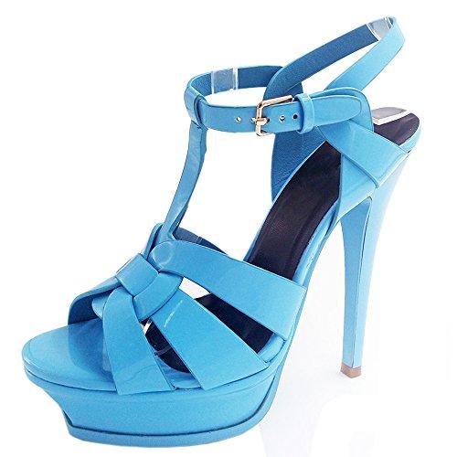 COOLCEPT Damen Mode T-Spangen Sandalen Open Toe Slingback Stiletto Schuhe Hellblau