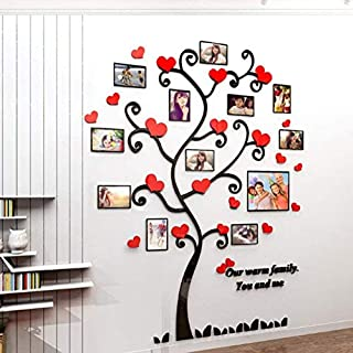 3D Wall Stickers Photo Frames Family Tree Wall Decal Red Heart Photo Gallery Frame Decor Sticker Home Art Decor (Large, red sweetheart)