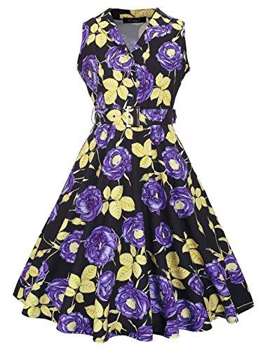 Feoya Damen 1950er Rockabilly Kleid Retro Audrey Hepburn Schwingen Ärmellos Knielang Festliche Kleider Partykleid Cocktailkleid Sommerkleid Lila