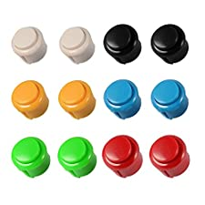 XCSOURCE 12pcs Push Buttons 12x24mm Arcade DIY Parts Bundles Kit 6-Color Buttons for Raspberry Pi MAME Jamma Game AC803
