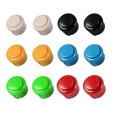 XCSOURCE 12pcs Boutons-poussoirs 12x24mm Kit Paquet pièces bricolage Arcade Boutons 6 couleurs pour Jeu Raspberry Pi MAME Jamma