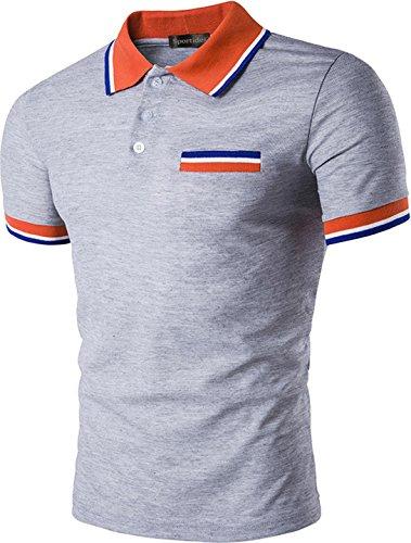 Sportides Mens Polo Shirts Contrast Collar Golf Tennis Sports Short Sleeve Shirt Tops JZA032