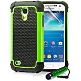 ihomegadget Shock Proof case cover for Samsung Galaxy S4 Mini i9190 + FREE screen protector and cleaning cloth - Green
