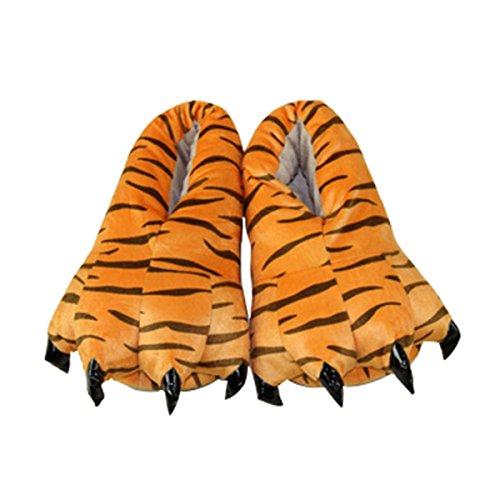 Casa Unisex Adulto Cosplay Costume Animale Scarpe Peluche Pantofole Con Animali a Zampa,Donna Ciabatte Invernali Stivali Cnimali Slippers, taglia 35-40 Tigre