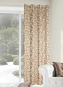140x245 cm gold karamellbraun honig Vorhang Vorhänge Weinrebemotiv Weinrebe Fensterdekoration Gardine Ösenschal Blickdicht gold caramel honey Floral