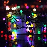 KEEDA Kugel Solar Beleuchtung, 7Meter,50er LED Solar Garten Lichterkette Beleuchtung, Solar Außenbeleuchtung/ Außen Lichterkette, Solarbetrieben Lichterkette, Dekorative Lichter, Weihnachtsbeleuchtung , Solarleuchten für Außen, Lichterketten für Draußen, Weihnachten/ Weihnachtsbaum Dekoration (Multi)