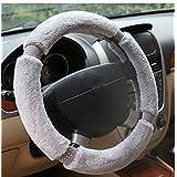 Caliente 4colores Conjuntos de felpa para volante de coche Auto steering-wheel 38cm invierno piel de automóviles interior accesorios, gris