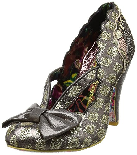 Irregular Choice Damen Curtain Call Pumps Grey (Pewter Multi)