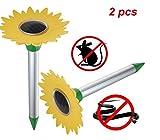 2pcs Solar mole repeller, Girasole a ultrasuoni Electronic Drive Away Mole Rat deterrent Mouse Snake Insect Repel Equipment per giardino esterno, zona efficace di circa 800metri quadrati