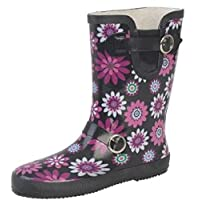 New Womens Wide Calf FLORAL PRINT Wellingtons Wellies, black and purple, 4 UK