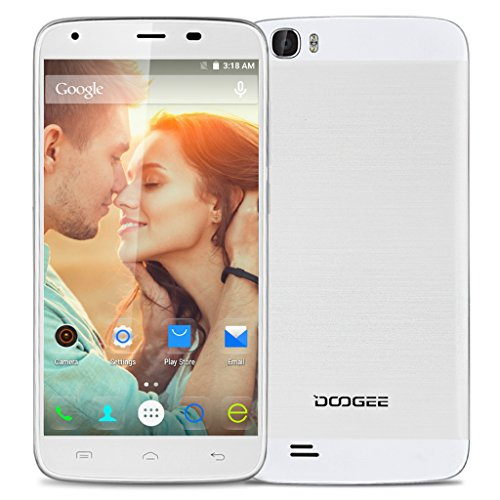 DOOGEE T6 Pro Smartphone 4G - 5.5 IPS Android 6.0 Marshmallow Octa Core1.3GHz 3GB RAM 32GB ROM Dual SIM GPS WiFi 6250mAh, Bianco
