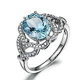 Amody Charmante Damen 925 Silber Blautopas & weißen Zirkon Ehering Größe 59 (18.8)