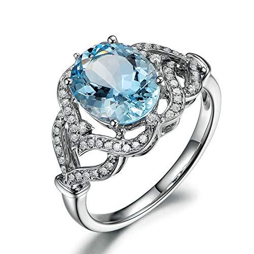Beydodo Sterling Silber Ring Frauen Kristall Hell Blau Topaz Oval Ehering Trauring Silber Gr.56 (17.8)