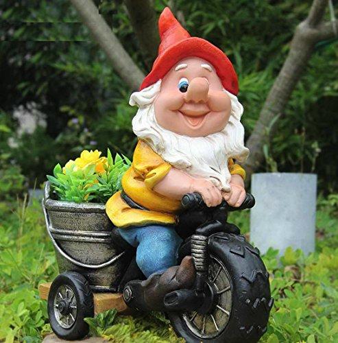 Wonderland Gnome/Dwarf Riding Bike Planter, planters, Garden pots and planters, Decorative Planter for Home Decor or Garden Decoration or Balcony, Garden Statue