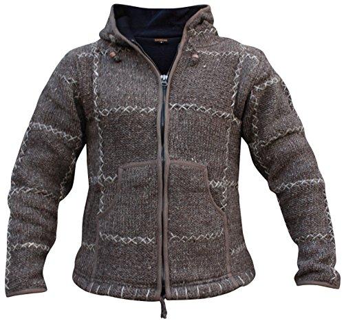 Shopoholic Mode Herren 100% Wolle Gestrickt Hippy Kapuzenpulli Reißverschluss Jacke Braun
