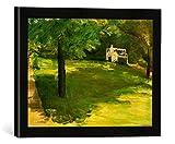 Gerahmtes Bild von Max Liebermann Gartenbank unter dem Kastanienbaum im Wannseegarten, Kunstdruck im hochwertigen handgefertigten Bilder-Rahmen, 40x30 cm, Schwarz matt