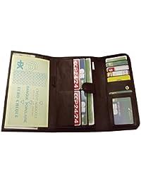 porte feuille chéquier carte monnaie homme/femme cuir vachette MARRON 20 x 11 cm