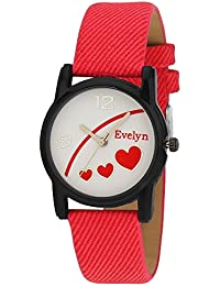 Evelyn Danim White Dial Red Strap Stylish Analogue Watch For Girls-Eve-594