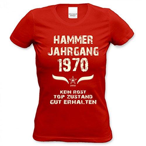 Lustiges Damen T-Shirt zum Geburtstag - Hammer Jahrgang 1970 - witziges bedrucktes Lady Shirt als Geschenk für Frauen, Größe:S